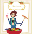 girl barbecuing meat vector image vector image