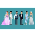 Nontraditional family Happy cute wedding gay and vector image