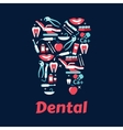 Flat silhouette of a tooth with dentistry icons vector image