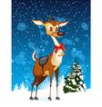 Christmas card with reindeer and Christmas tree vector image