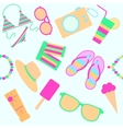 seamless background with beach icons vector image