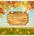 Autumn Landscape Wooden Board vector image
