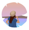 happy travel - with lovely young female in the vector image
