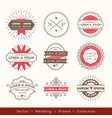 retro modern hipster wedding logo frame badge vector image