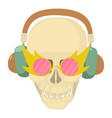 skull with headphones icon cartoon style vector image