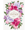 Vintage wedding invitation with colorful flowers vector image