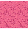 Seamless suns and hearts from footprints vector image