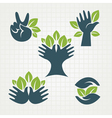 leaves and fingers vector image vector image