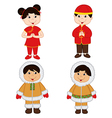set of isolated children of Chinese and Eskimo vector image