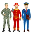 Soldier fireman and postman characters vector image