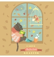 Funny cat reading by the window vector image