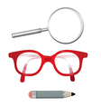 Glasses Pencil Magnifying Glass Isolated on White vector image