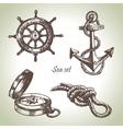 Sea set of nautical design elements vector image