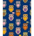 Seamless Pattern with Sleepy Color Owls in the vector image