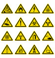 warning and hazard symbols on yellow triangles vector image