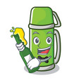with beer thermos character cartoon style vector image