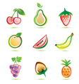 Organic fruits icons set organic food concept Vector Image