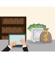 hands laptop money safe box bookshelf workspace vector image