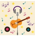 musical card with guitar vector image vector image