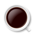 top view of mug with coffe on white background vector image
