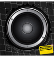 Loudspeaker on grunge background with warning sign vector image vector image