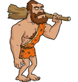 caveman with a club vector image
