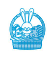 cute easter bunny basket egg decorate vector image