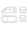 electric vehicle or hybrid car in outline eco vector image