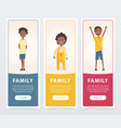family banners set black happy children flat vector image