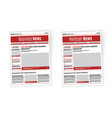 newspaper design template with red headline vector image