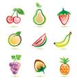 Organic fruits icons set organic food concept vector image
