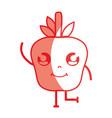silhouette kawaii cute happy apple fruit vector image