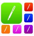 black fountain pen set color collection vector image
