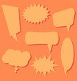 set of speech bubbles on a orange background vector image