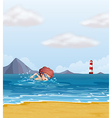 A child swimming at the beach vector image