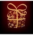 Christmas box made from golden snowflakes  EPS8 vector image