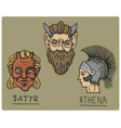 ancient greece antique symbols athena profile vector image