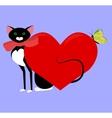black cat valentine vector image