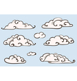 clouds set vintage stylized drawing vector image