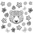 Flower panda coloring page vector image