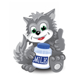 Gray cute cat with bottle of milk vector image