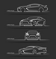 Set of sports car silhouettes vector image