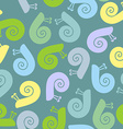 Silhouette snail with spiral shell seamless vector image