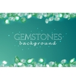 sparkling gemstones emeralds on green background vector image