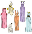 hand drawn beautiful greek dresses vector image