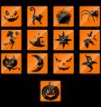 Halloween flat icons set vector image