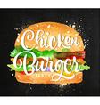 Chiken burger chalk vector image vector image