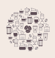 Coffee Types and Coffee Accessories Icons Set in L vector image