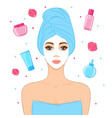 beautiful woman with facial mask cosmetics and vector image