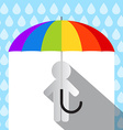 Colorful Umbrella in Rain with Paper Man vector image